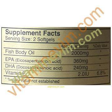 gold natural omega-3 1000mg 200 softgel